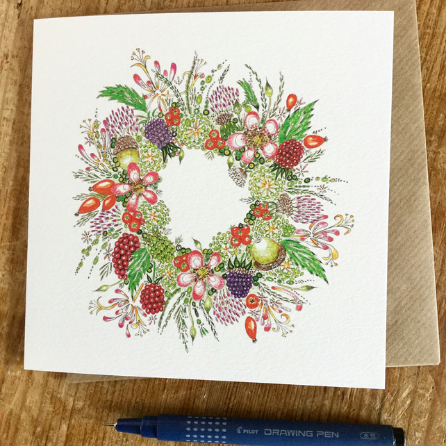 Hedgerow Wreath Greeting Card