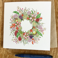 British floral and berry Hedgerow Wreath Greeting Card