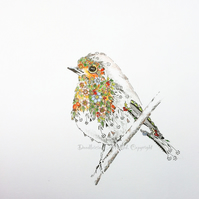 50% Discount OFFER! Rosehip Robin Art Print 10 x 12