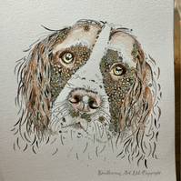 "Spaniel Art Print (pre order) 10 x 12"" mounted, signed and ready to frame"