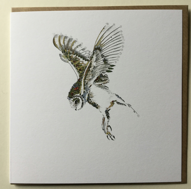 Flying Barn Owl festive card
