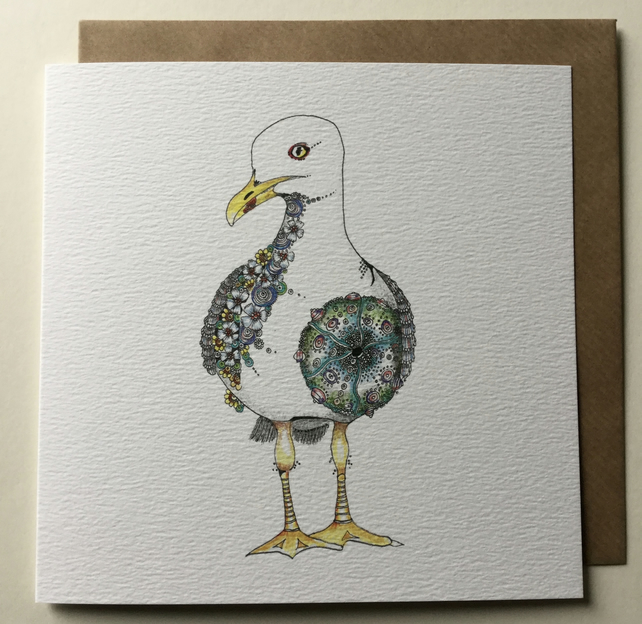 Hold on to your ice cream! Seagull Greeting card