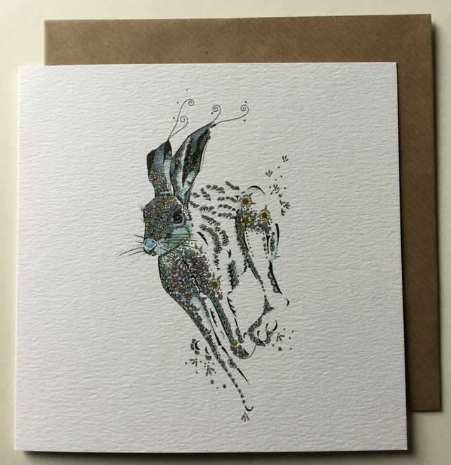 Running Hare Greeting card