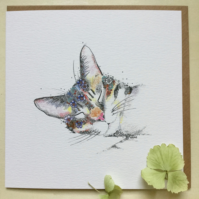 Beautiful Floral Cat greeting card