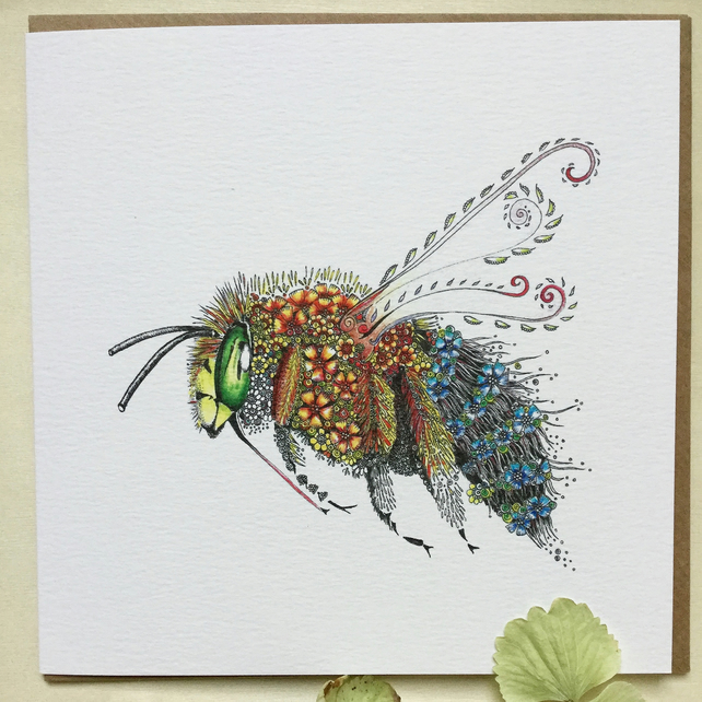 Blue Banded Bee Greeting card NEW