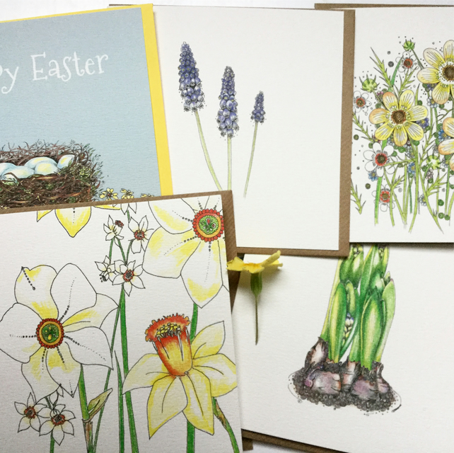 Mixed pack of Spring Greeting cards x 5