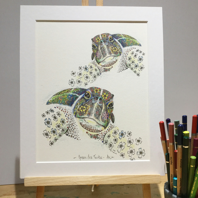 Sea Turtles a4 size mounted, signed print