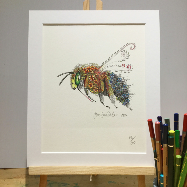 Blue banded Bee limited edition,  signed print