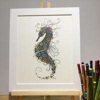 "Seahorse 10 x 12"" mounted, ready to frame Illustration"