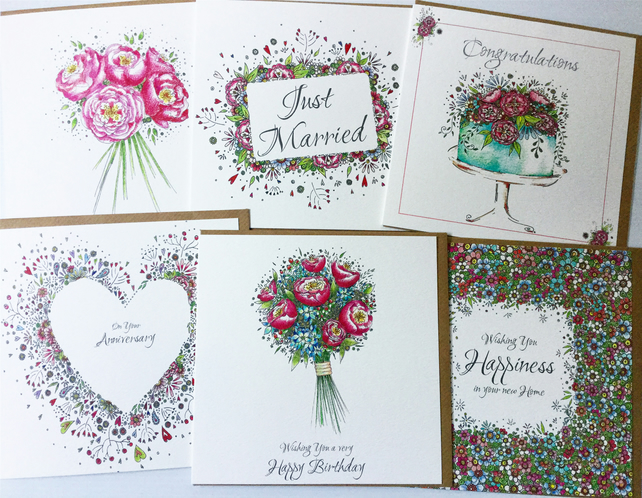 Mixed pack of beautifully feminine  occasions cards