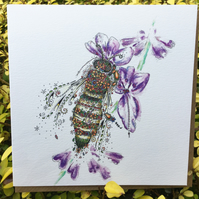 Beautifully floralHoney Bee & Lavender Greeting Card