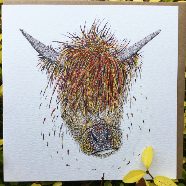 Highland Cow blank greetings card
