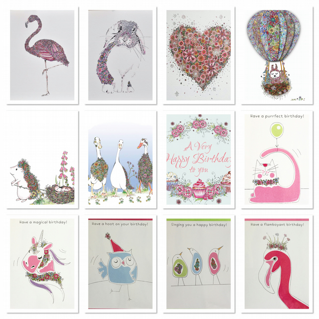 Girls female mixed pack of 12 Greeting cards