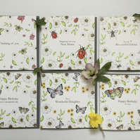 Mixed pack of 6 Wildflower Occasion Greeting cards