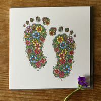 Beautiful Floral Baby Feet (new baby card)