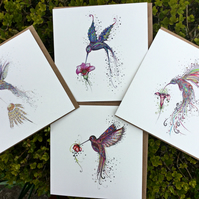 4 x  stunningly beautiful floral Hummingbird card
