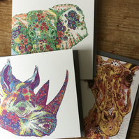 3 Endangered Species Art cards