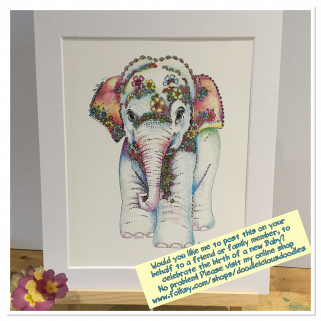 Direct mail Baby Elephant Art Print and Greeting card