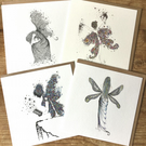 Beautiful mixed pack of 4 x Fairy Greeting cards