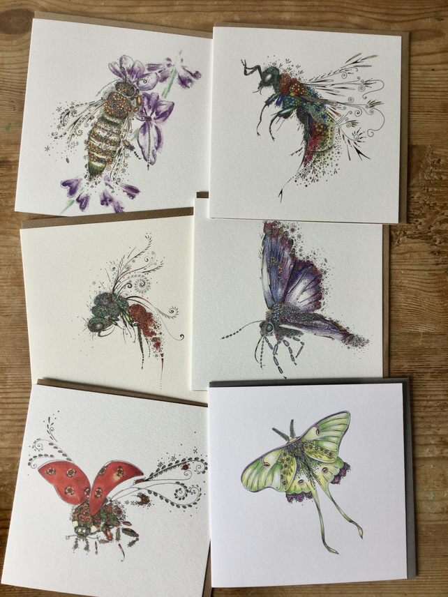 6 x different insects Greeting cards