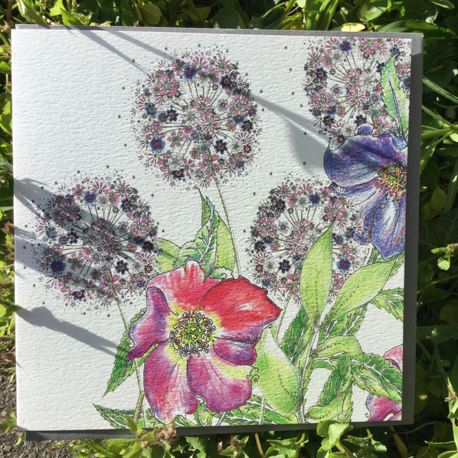 Flower garden greeting card (Alliums and Hellebore)