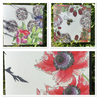Set of 3 garden flowers Greeting cards