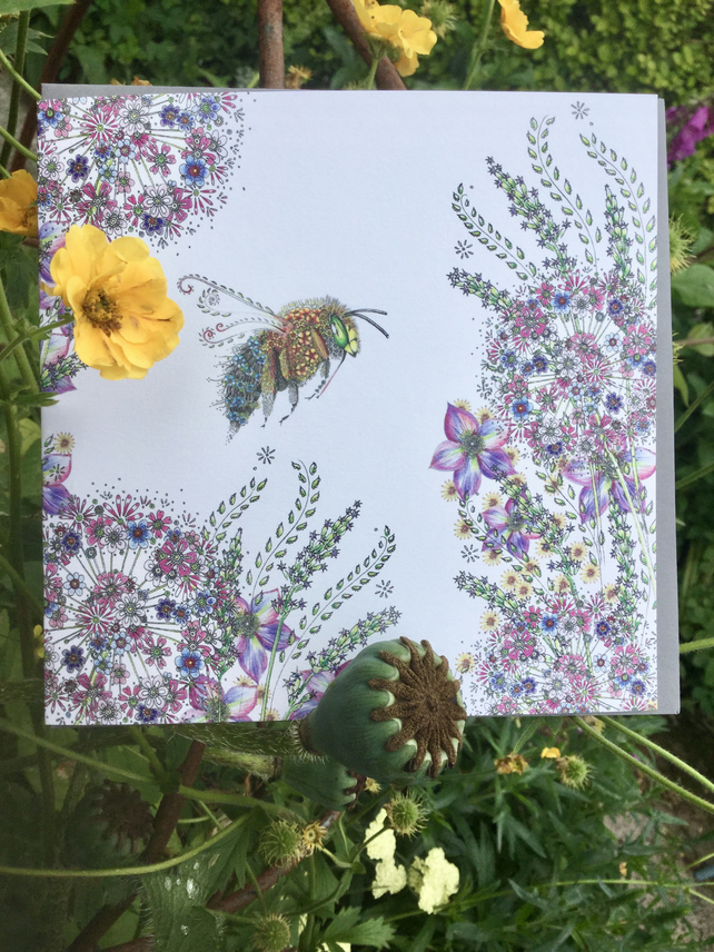 Bee and Allium Greeting card
