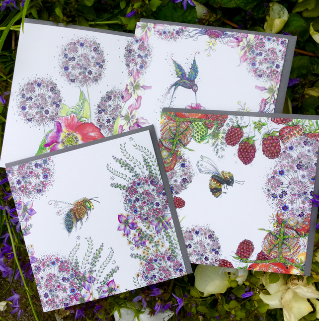 Set of 4 beautiful garden inspired blank greeting cards