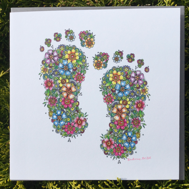 Floral baby feet card