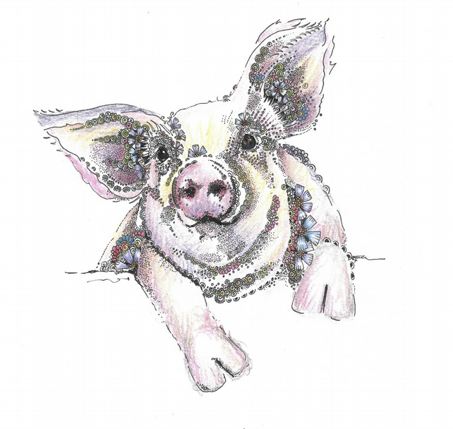 Flossie the Pig Greeting card