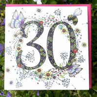 Flower Meadow AGE 30 Birthday Card