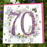 Flower meadow Age 70 Birthday Card