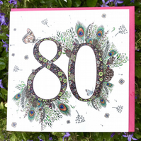 Flower meadow 80th birthday card