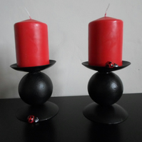 "WROUGHT IRON  ""LADYBIRD"" CANDLE HOLDERS"