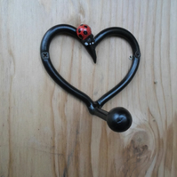 Heart Coat Peg..........Wrought Iron (Forged Steel) With Unique Ladybird Feature