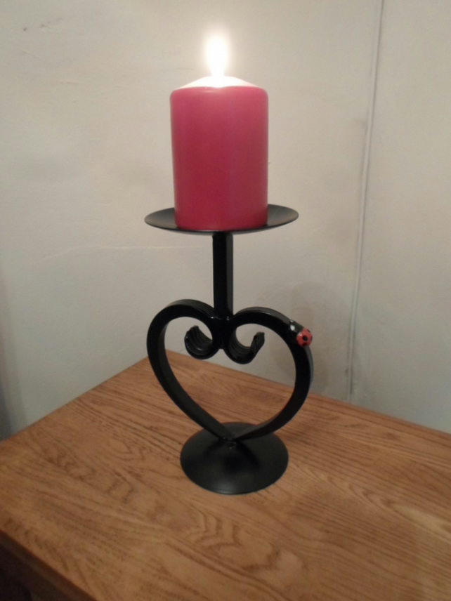 "WROUGHT IRON ""LADYBIRD"" HEART CANDLE HOLDER"