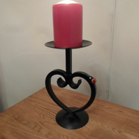 Heart Scrolled Candle Holder..........Wrought Iron (Forged Steel) With Ladybird
