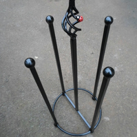 "WROUGHT IRON (FORGED STEEL) CUSTOM MADE ""LADYBIRD"" WELLIE STAND"