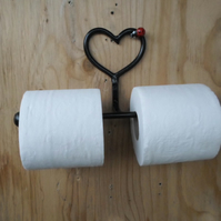 Double Toilet Roll Holder......Wrought Iron (Forged Steel)Heart&Ladybird Feature