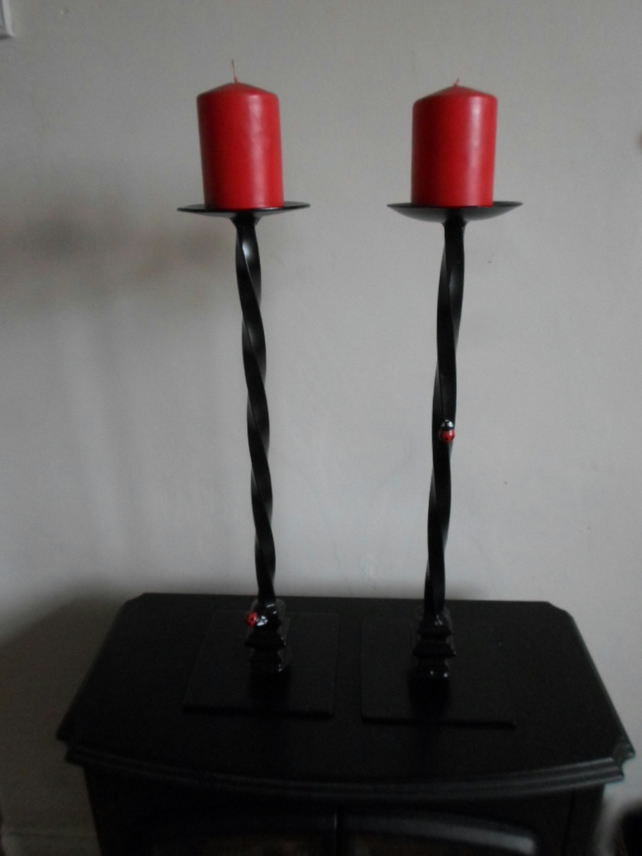 Tall Twisted Candle Holders..............Wrought Iron (Forged Steel) Custom Made