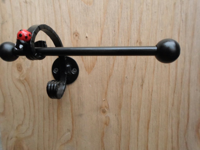 "WROUGHT IRON (FORGED STEEL)CUSTOM MADE  "" LADYBIRD"" TOILET ROLL HOLDER"