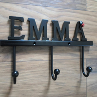 Lettered Coat Rail ...........Wrought Iron (Forged Steel) Custom Made. Ladybird