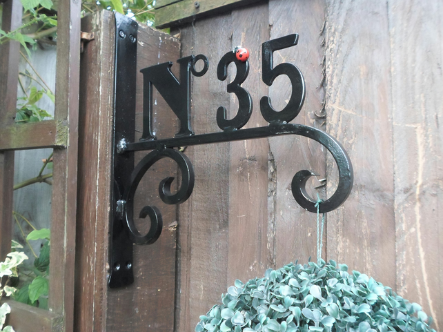 "Wrought Iron ""Ladybird"" Custom Made House Number,  Hanging Basket Bracket.."