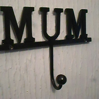 "WROUGHT  IRON ""MUM"" COAT HOOK"