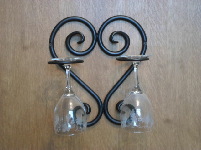 Wrought Iron Scrolled Heart, Wine Glass Holder