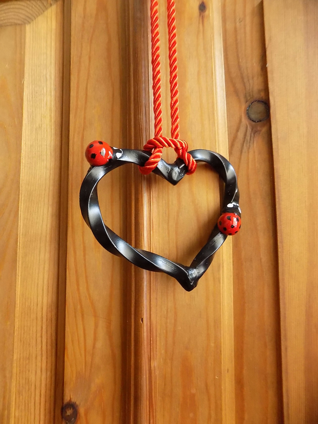 Hanging Heart .......................Wrought Iron (Forged Steel) With Ladybirds