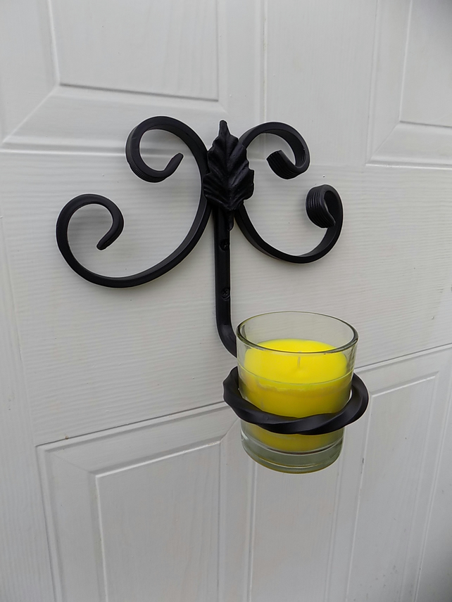 Wrought Iron(Forged Steel)Rustic Scrolled Sconce & Citronella Candle