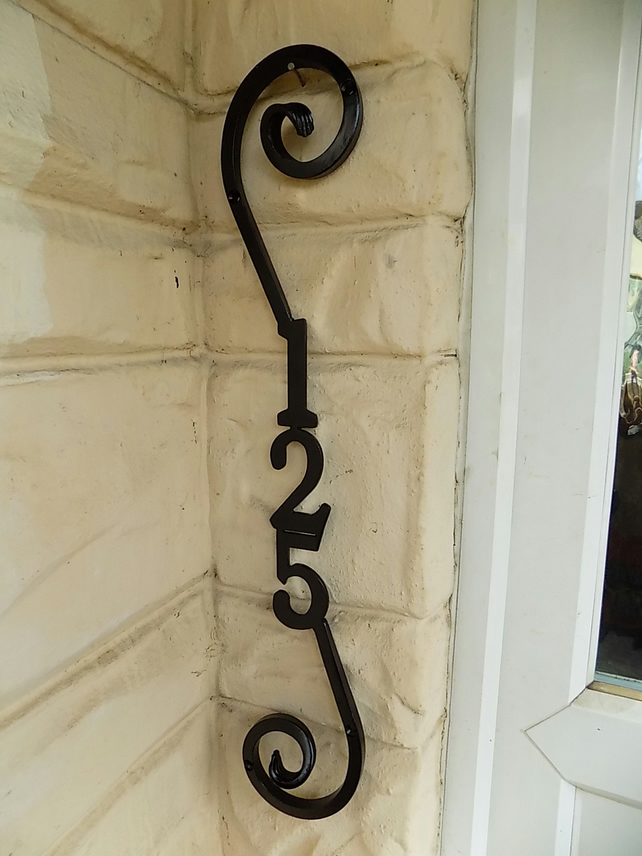 Wrought Iron (Forged Steel) Custom Made  House Number Plaque