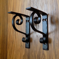 WROUGHT IRON (FORGED STEEL) CUSTOM MADE PAIR OF SHELF BRACKETS