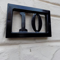 House Number Plaque.....................Wrought Iron (Forged Steel) UK Free Post